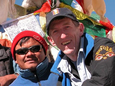 Nepalese guide Gyan Tamang And Jerome Ryan on Larkya La Around Manaslu in 2003